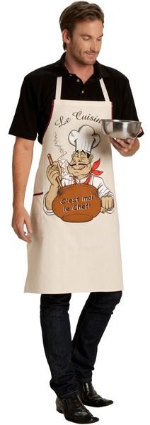Tablier humoristique cuisinier ecru le sp cialiste du for Cuisinier humoristique